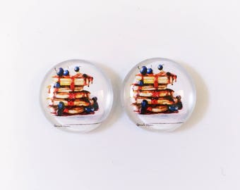 The 'Blueberry Pancakes' Glass Earring Studs
