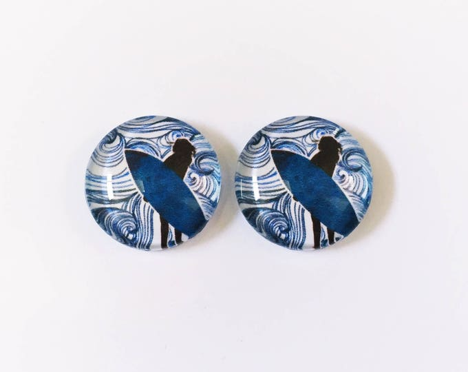 The 'Wave Rider' Glass Earring Studs