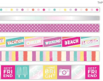 Summer Lights Holographic Foil Accented Washi Tape - Pink Paislee