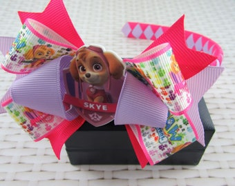 Woven Headband Inc Boutique Bow - Skye Paw Patrol