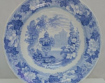 PEARLWARE C1830 Etruscan Greek Vases & Bowl PATTERN Blue and White Transfer BOWL