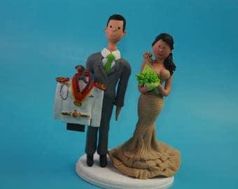 Custom Marine Military military USMC Marine Corps. Wedding Cake Topper. Wedding keepsake. The bride and groom. Cake decoration