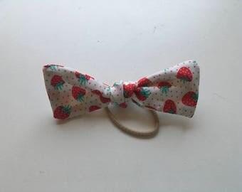 Strawberry print hair bow