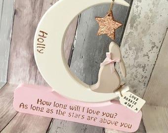 Moon Gazing Hare, New Baby Gift, Birthday Gift, Baby Shower Gift, Freestanding Wooden Ornament