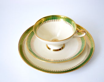 Green and Gold China Trio, Bavarian China, Vintage Tea Set, Vintage Bavarian China, Vintage Tableware, Green Tea cups, Vintage Tea Cup, 1950