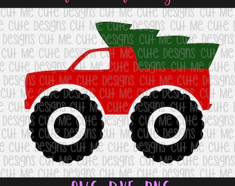 SVG DXF PNG cut file cricut silhouette cameo scrap booking Merry Christmas Big Truck with Tree