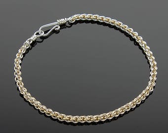 Handmade Delicate Two-Tone Jens Pind Chainmaille Bracelet