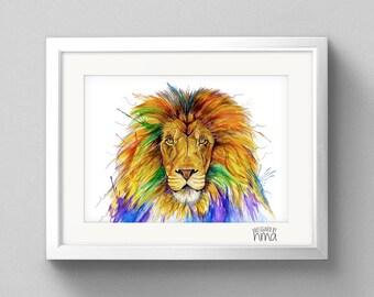 A4 Lion Watercolour Print