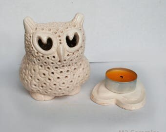 "candlestick ""Owl"", White Owl, ceramic owl, white clay, owl, Perfect gift for fans of owls, Ceramic candlestick, candle holder"