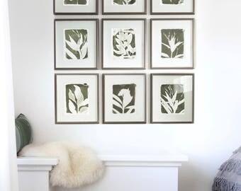 Set of 9 Green Botanical Cyanotype PRINTS / Handmade Art Print / Original Botanical Floral Cyanotype Photogram Art / 8x10