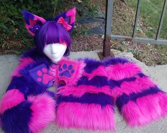 Purple/Pink Cheshire Costume Raver Faux Fur Cat Set(Read Details and/or Shop Announcement)