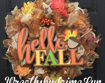 Hello Fall, Fall Wreath, autumn Wreath, fall decor, autumn decor, burlap wreath,