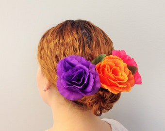 Mexican Floral Hair Comb Adult Size Colorful Flowers Comb Frida Kahlo Hair Accessories Mexican Tiara Fabric Flowers