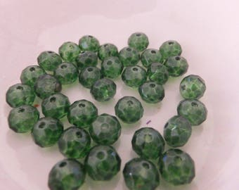 20 pc Green Translucent Abacus Faceted Glass Beads 8x6mm