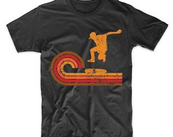 Retro Style Skateboarder Silhouette Skateboarding T-Shirt