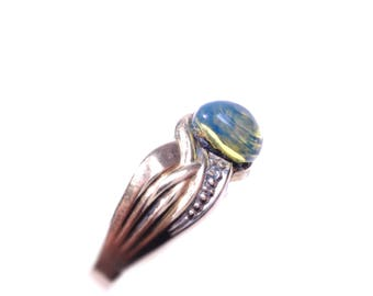 3A blue amber jewelry ring small 333 gold design