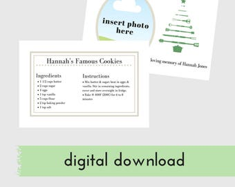 In memory, Custom Christmas Card with Recipe, Christmas Cards with Photo and Recipe, Digital Download, Custom In loving memory Recipe Card