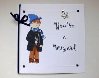 Wizard Card, Boys Birthday Card, Well Done Card, Congratulations Card, Childrens Birthday Card, Celebration Card, Wizard Boy, Magic Card