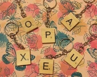 Single scrabble letter key chain