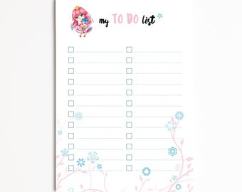 "Notepad A6 ""Little Princess"", Task List, Shopping List, Organizer, planner - Pretty Stationery"