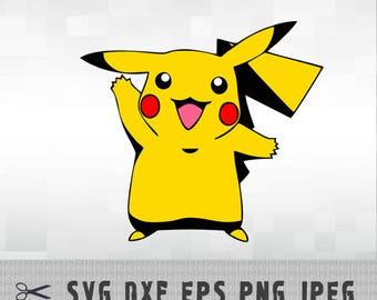 Pikachu Pokemon SVG PNG DXF Logo Layered Vector Cut File Silhouette Studio Cameo Cricut Design Template Stencil Vinyl Decal Transfer Iron on