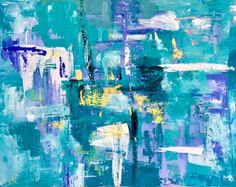 Abstract painting turqoise teal blue / Contemporary / Modern Art