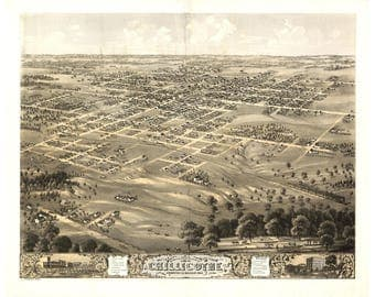 Chillicothe MO; Antique Map, Perspective, Pictorial or Birdseye Map 1869