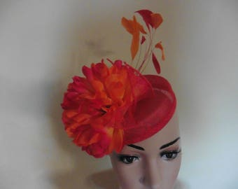 Red and Orange Hat,Red and Orange Pillbox Hat,Red and Orange Wedding Hat,Red and Orange Ascot Hat,Red and Orange Race Hat,Ascot Hat Red