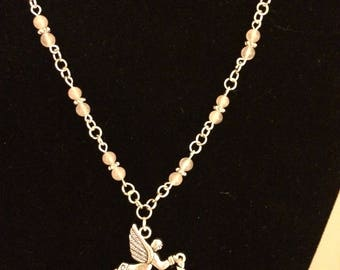 "27"" Angel with Heart necklace rose quartz beads."