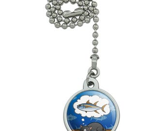 Cat Dreaming of Fish Ceiling Fan and Light Pull Chain