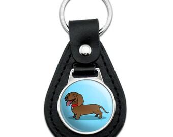 Dachshund Wiener Dog Cartoon Black Leather Keychain