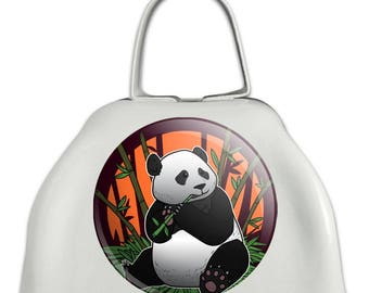 Giant panda bear eating bamboo white metal cowbell cow bell instrument