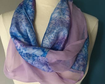 Blue and lavender hand-dyed silk chiffon infinity scarf; unique design infinity scarf; gift scarf; summer scarf; one-of-a-kind scarf