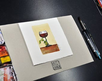 Wine glass with spirit, or kitchen monster: illustration, Watercolor, spring drawing, original by Marc-M. J. Wolff-Rosary