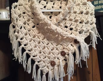 Cowl Shawl with Fringe