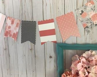 Paper Banner, Pink Banner, Gray Banner, Flower Banner, Party Banner, Girl Shower Banner, Girl Nursery Decor, Photo Prop, Birthday Banner