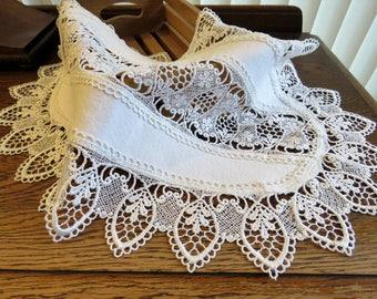 White crochet-edged table runner