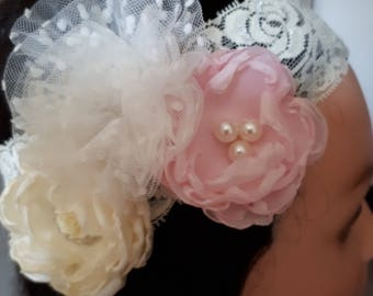Flower Girl Headband,Headband,Girls Headband Flower,Baby Headband