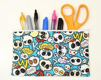 """Chibi Skulls Bag – 8"""" x 5"""" Kawaii Pencil Pouch –Cute Skulls Pouch – Cute Skulls Bag – Kawaii Skull Make Up Pouch – Kawaii Skull Pencil Bag"""