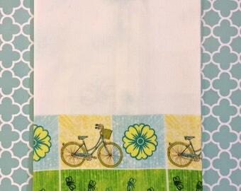 Summer Time Market Bike Kitchen Towel Bees Bikes Flowers Tea Towel Blue Green Yellow