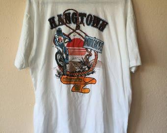 Vintage 1986 HANES Hangtown MOTOCROSS paper thin Tee Shirt size Large