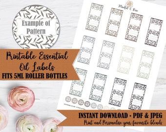 Printable Essential Oil Labels - 5ml Rollerball Labels Pattern in Neutral Colors