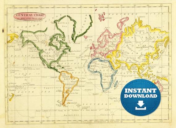 Digital Old World Map Printable Download Vintage World Map - Large world map image