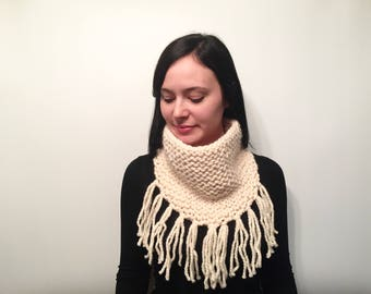 Fringe Knit Cowl // Boho Chic Cowl Snood Scarf // Women's Fall/Winter Scarf