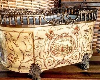 Gorgeous Vintage Porcelain Planter with Bronze Ormolu ~ Antique Style Jardiniere