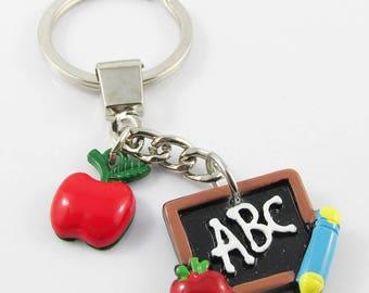 Resin Teacher Gift Apple Blackboard Charm Keychain Keyring 87mm