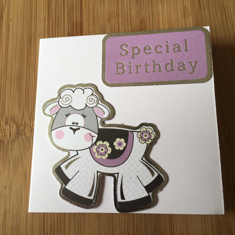 Sale Handmade Birthday Greetings Card Sheep Birthday Card Lamb