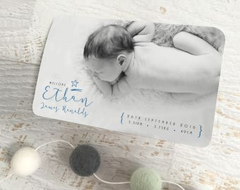 Digital Birth Announcement Card, Custom Birth Announcement, Baby Photo Card, Birth Thank you Card, Boy's Birth Announcement