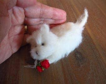 Benji -  Little dog/puppy - OOAK, artist dog, miniature dog, vintage puppy, Blythe dog, art dog, , dollhouse dog, tiny