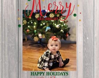 Christmas Card, Merry Christmas, Custom Photo Greeting, Happy Holidays Printable JPEG
